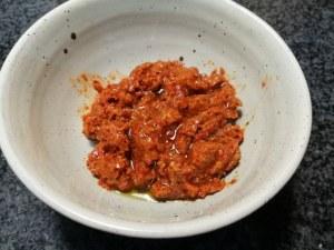 Linguine con pesto di pomodori secchi mazzancolle e menta